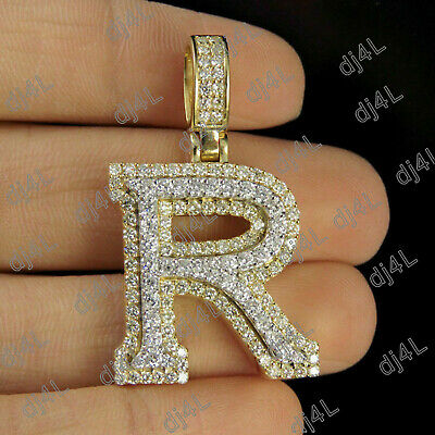 R Initial Custom 3D Letter 1.50 CT Diamond Pendant Charm In 10K Yellow Real Gold