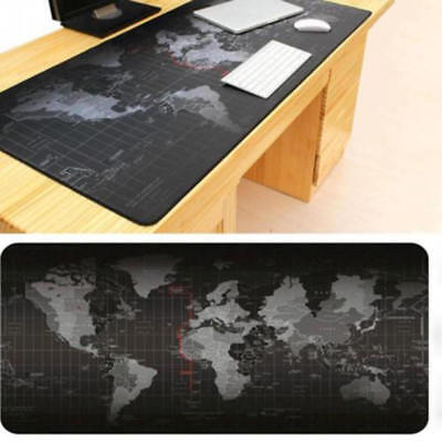 World Map Game Mouse Pad - Black Large Desk Mat Non-Slip Rubber 300 * 600 * 2mm