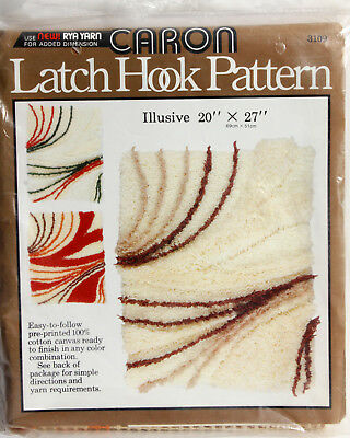 Vtg 20 x 27 Canvas Caron Latch Hook Pattern Illusive 3109 Rug Wall Hanging 69x51