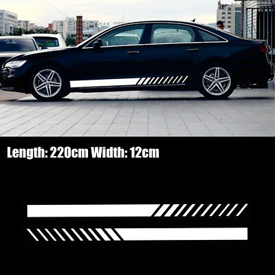 Pair Long  Stripe Decal Vinyl Sport Sticker Universal Car Truck SUV White