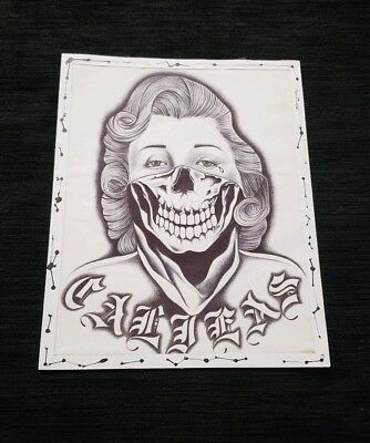 Prison Drawing Handkerchief Califas Pen and Ink Art California Woman Skull Paño