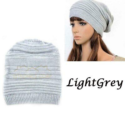 2019 Womens Mens Knit Baggy Beanie Hat Winter Warm Oversized Ski Cap LightGrey