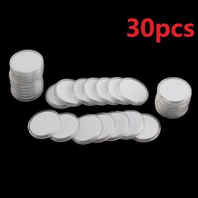 30X 46mm Coin DISPLAY Cases Capsules Holder Clear Plastic Round StorageBox