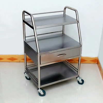 Hospital Medical Dental Lab Trolley Carts One Drawer 3 Layers Stainless Steel SH