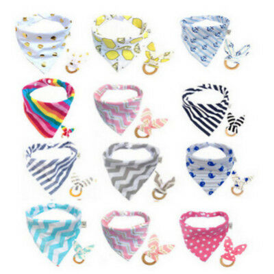 New Hot Baby Feeding Head Scarf Towel Bib Saliva Triangle Dribble+Teething Rings
