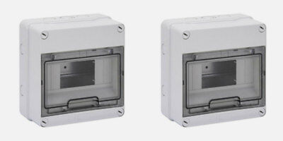 2 x Gewiss GW40003 IP55 4 or 8 Module Surface Enclosures Ideal for RCD etc