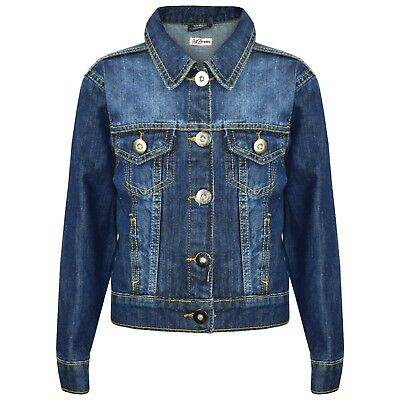 Kids Girls Blue Denim Style Designer Jackets Fashion Jeans Jacket Coats 3-13 Yrs