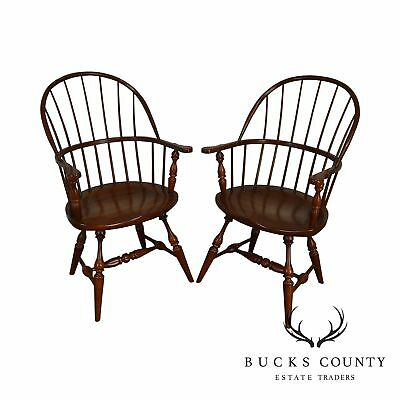 Fredrick Duckloe Solid Cherry Pair Hoop Back Windsor Armchairs