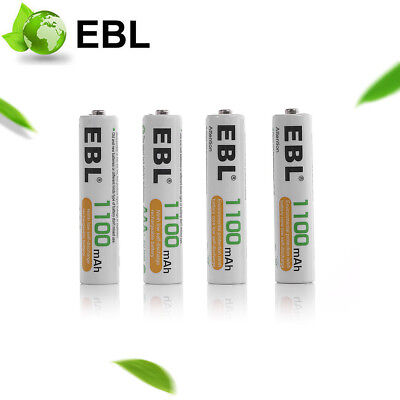 4 x EBL AAA 1100mAh Rechargeable Batteries 1.2V NiMH HR03 For Cordless Phone UK