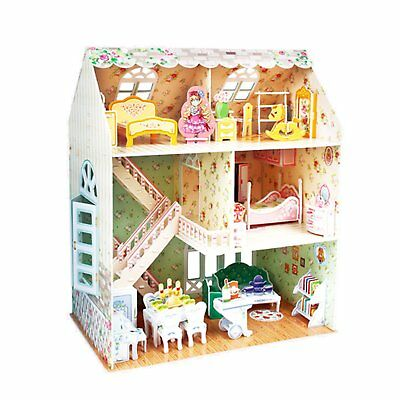 3D Puzzle Kids Doll House With Furniture Staircase For Princess Dollhouse