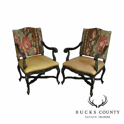 French Louis XV Style Pair of Tapestry Back Leather Seat Fautieul Arm Chairs