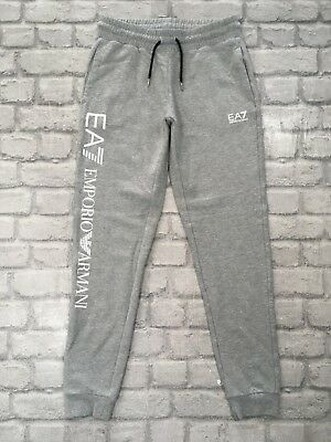 Emporio Armani Ea7 Ladies Uk Xs Grey White Logo Joggers Jogging Bottoms Rrp £89