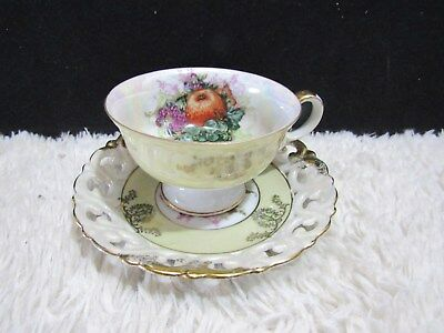Royal Halsey Light Yellow Iridescent Fine China Cup and Saucer