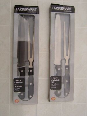 "Farberware 2 Carving Set 8"" Slicer 6.5"" Fork Slicer Forged High Carbon Stainless"