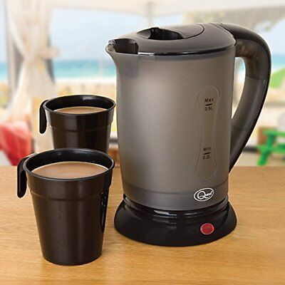 New 0.5Litre Dual 240V Small Electric Travel Kettle + 2 Cups In Black Colour