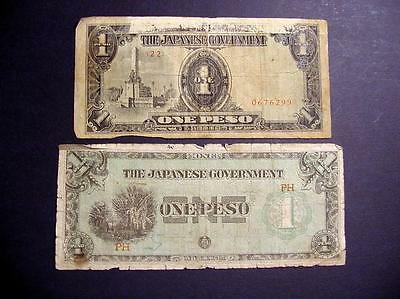 Japanese Bank Notes 1942 & 1943 Paper Mickey Mouse Money 2 One Peso Bills Lot 25
