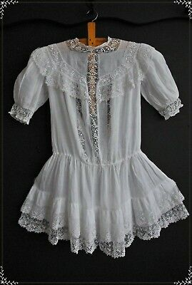 Ethereal Antique Irish Lace And Lawn 1900's Victorian Vintage Child's Dress