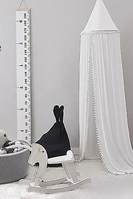 Pompom Canopy Tent Mosquito Net Dome Baby Nursery Crib Bedroom Cotton - White