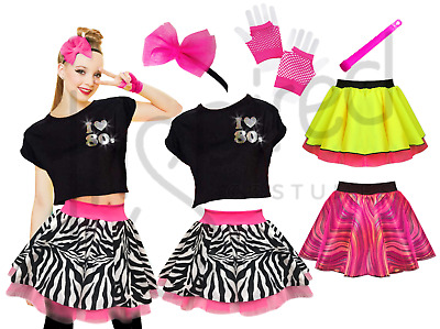 MADE IN THE 80s Ladies Drop Top Outfit Fancy Dress Costume Neon Tutu 80/'s Gloves