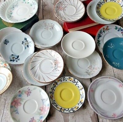 Reduced to clear Set of 10 Mismatch Vintage Bone China/ceramic Saucers