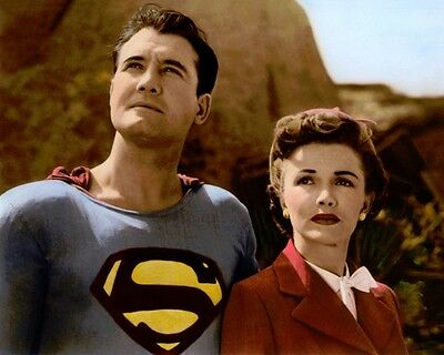 "GEORGE REEVES PHYLLIS COATES SUPERMAN 1950s 8x10"" HAND COLOR TINTED PHOTOGRAPH"