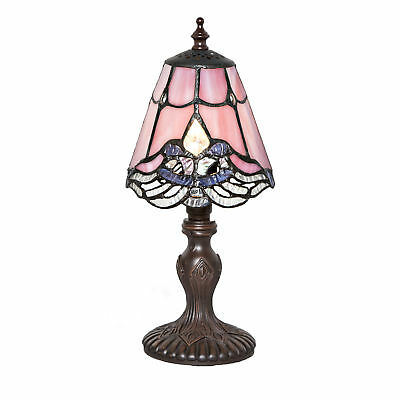 12.25''H Stained Glass Mini Crystal Lace Table Lamp Home Decor Living Room -Pink