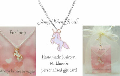 CHILDREN's Jewellery UNICORN Necklace Personalised gift Sterling Silver Chain