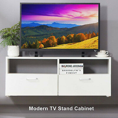 37 Wood Floating Tv Stand Wall Mounted Media Console W 2 Door 2