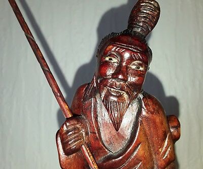 Antique Boxwood Carving Chinese Fisherman 19thC Late Qing
