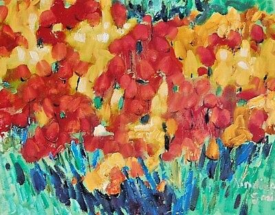 """""""Spring Tulips"""" by Kinnison Smith -Original Canvas Art Signed Oil Panting"""