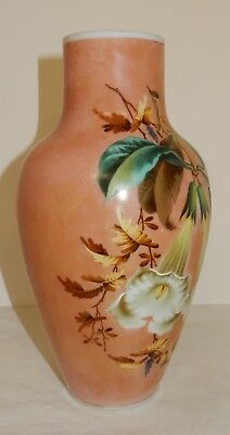 Antique Victorian Hand Painted Angels Trumpets on Pink Milk Glass Vase