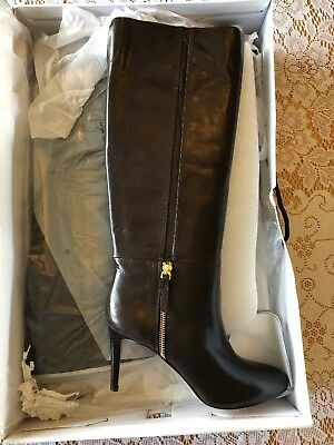 c88342dbc1a NINE WEST Dark Brown Leather VINTAGE Side Zip Knee High Heeled Boots SZ 8 1