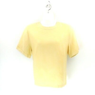 Talbots Womens Size 20 Lemon Chiffon Linen Covered Button Back S/S Popover Tunic