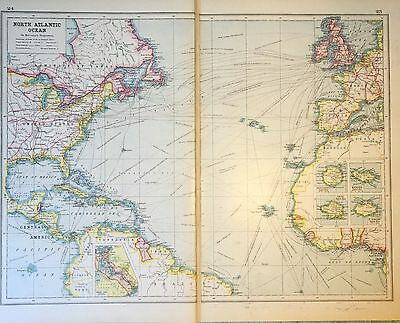 Vintage Antique Original North Atlantic Ocean On Mercator's Projection Map 1922