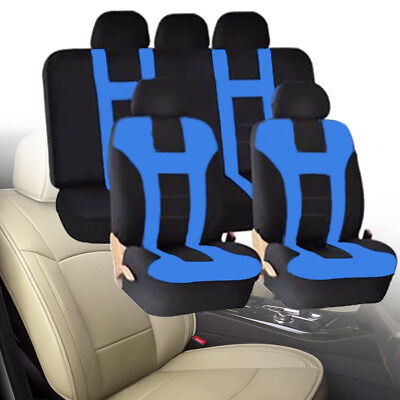 Blue Car Seat Covers Protectors Universal washable Dog Pet full set front rear