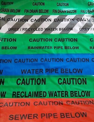 CAUTION Underground warning Reclaimed Grey/Recycled RainWater Fin Drain Sewer