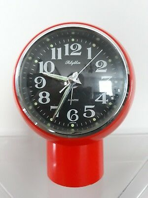 Rhythm clock Orologio arancione Sveglia * Made in Japan * Vintage Space Age