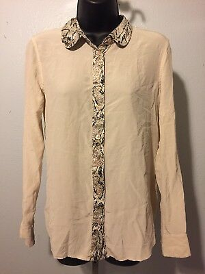 b104d03fce2d19 Equipment Femme Ivory Snake Print 100% Silk Long Sleeve Button Down Blouse  Sz S