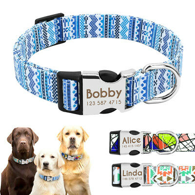 Personlized Dog Collar Nylon Fashion Adjustable Small Large Engraved for Pitbull