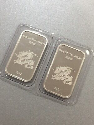 2012 1oz Suisse Year of the Dragon 999 Silver Bar Pure