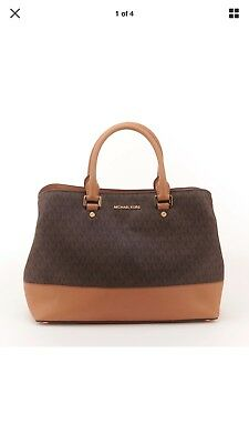 491919252196 MICHAEL KORS SAVANNAH Signature Satchel Brown 30H6GS7S8B - $82.00 ...