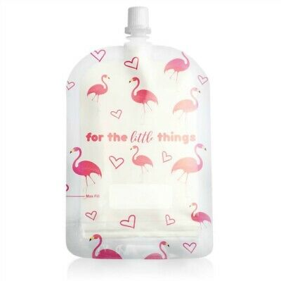 Sinchies Baby Food Reusable Squeeze Pouches Refillable 1/5/10 Pack  Flamingo