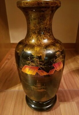 Unknown Vintage Burgundy Lacquered Vase With Abalone Inlay Iris Motif Vgc Antiques