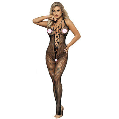 Bodystocking Black Seamless Crotchless Fishnet With Design Plus Size 14 + Sexy