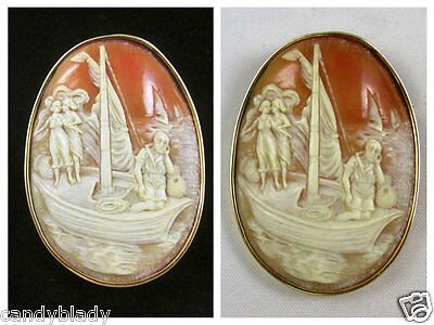 Huge Vintage 14Kt Yellow Gold Handmade Shell Cameo Brooch Pin