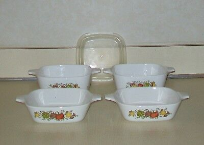 Corning Ware Spice of Life Two P-41-B  Two P-43-B Petite Pan Set 1 Plastic Lid