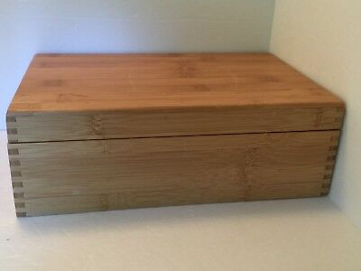 Solid Wood Box Divided Hinged Lid Jewelry Storage Crafts Tea Sewing