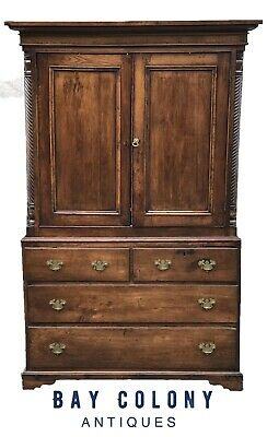 18Th C English Chippendale George Iii Yew Antique Linen Press / Cupboard Cabinet