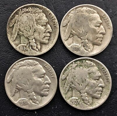 Lot of FOUR (4) - 1934, 1935, 1936 & 1937 5c Indian Head Buffalo Nickels