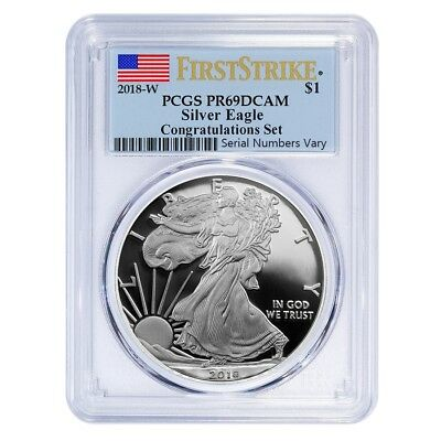 "2018-W $1 Silver American Eagle Proof Coin ""Congratulations Set"" PCGS PR69 DCAM"